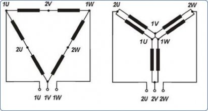 Соединение обмоток двухскоростного двигателя