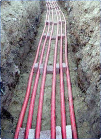 Прокладка кабельной линии при помощи керамических блоков