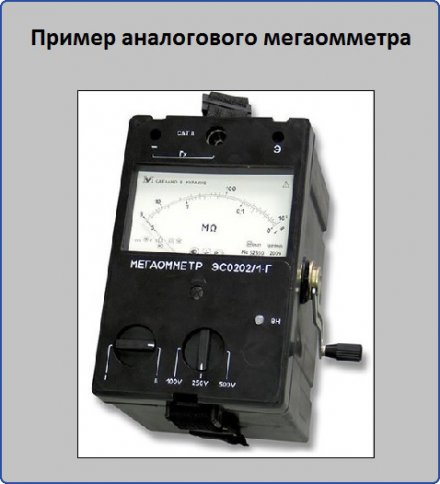Пример аналогового мегаомметра