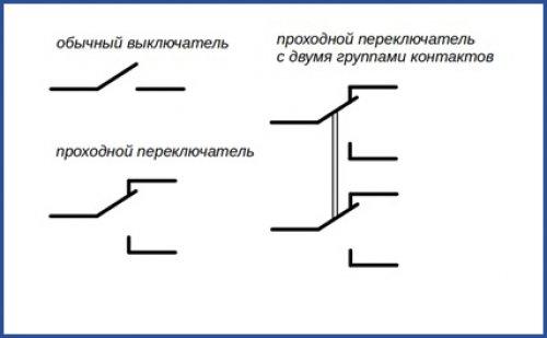 Контакты проходного выключателя