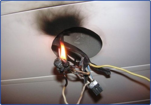 Пожар из-за плохого соединения проводников