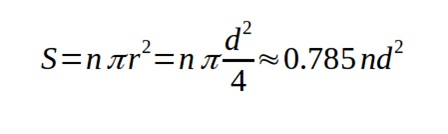 Формула определения площади сечения