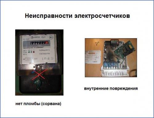 Неисправности электросчетчиков