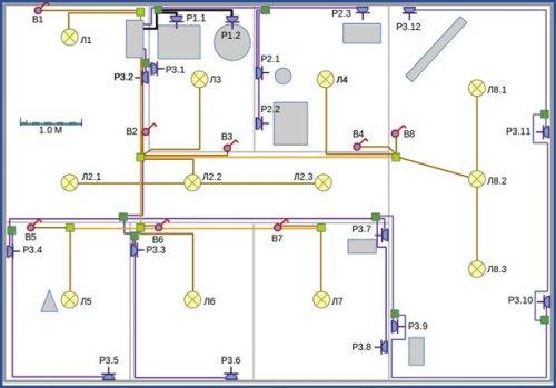 Проектирование линий освещения и розеток на одном чертеже
