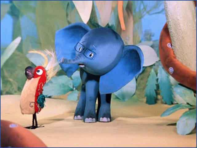 Спор попугая и слоненка