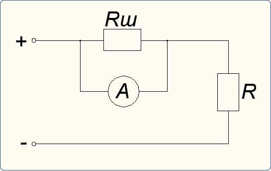 Схема подключения амперметра с шунтом