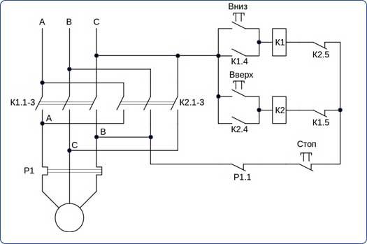 Нереверсивная схема подключения электродвигателя