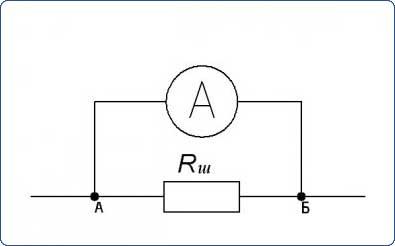 Схема подключения шунта и амперметра