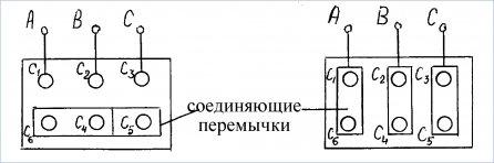 Подключение обмоток на клеммах