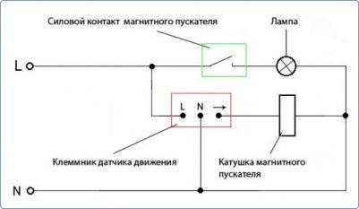 Схема подключения магнитного пускателя через датчик движения