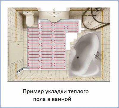 Пример укладки теплого пола в ванной