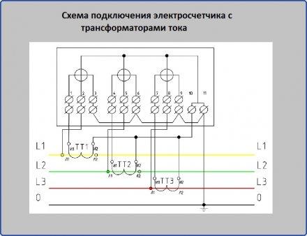 Схема подключения  электросчетчика с трансформаторами тока