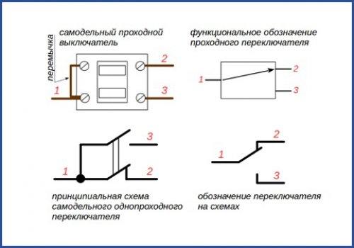 Схема сборки самодельного проходного выключателя