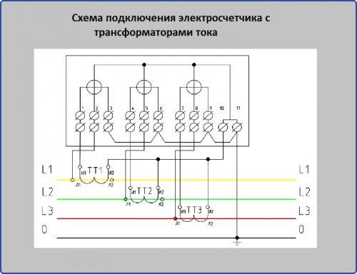 Схема подключения электросчетчика через трансформаторы тока