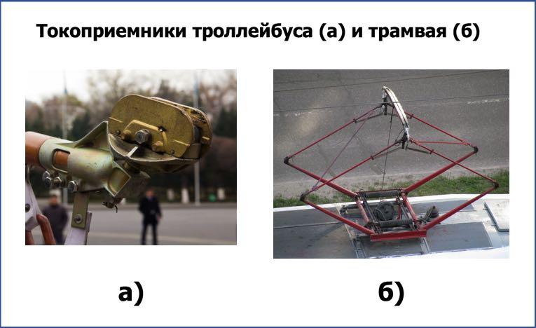 Токоприемники троллейбуса (а) и трамвая (б)